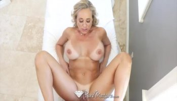 Sexy blonde MILF gets her loose holes double penetrated